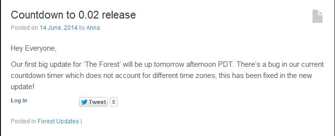 """Countdown zum Update 0.02 """"The Forest"""""""