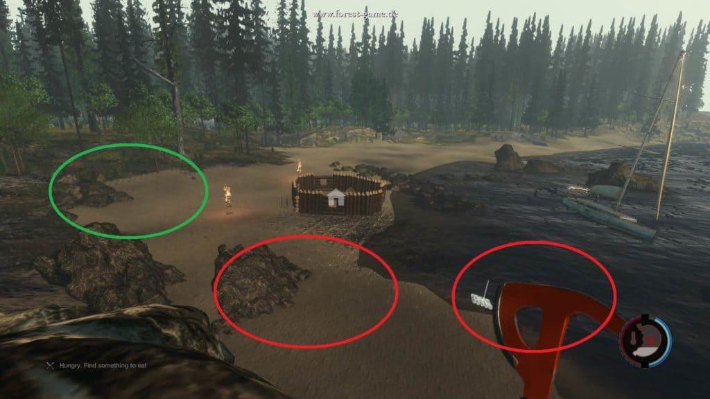 The Forest - Grün = Materalien Rot = Nahrungsquellen (Koffer und Fische)