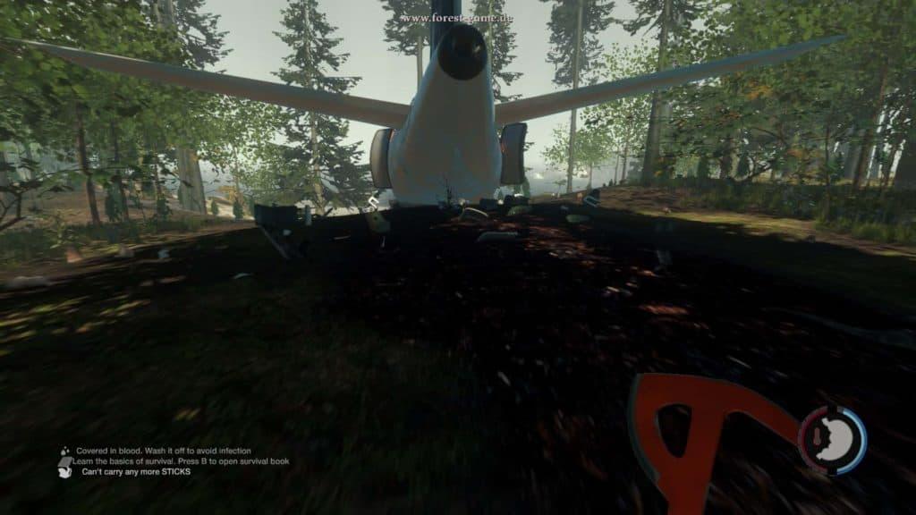 The Forest - Das Flugzeug wird von vielen Kleintieren bewohnt. Ein Abstecher wird dem Magen sicherlich gut tun.