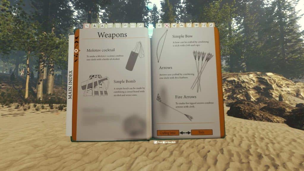 Auch das Survivalbuch hat mit V 0.08 ein Update erfahren. Durch das neue Waffenupgradesystem bekommen wir ein paar Ideen vorgestellt, unsere Waffen deutlich zu verbessern.