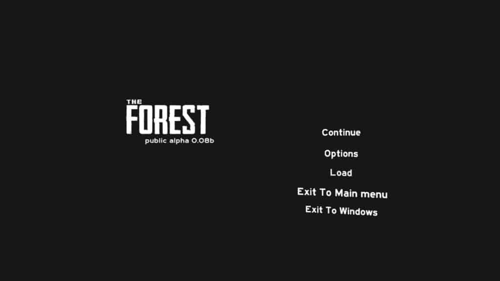 The Forest Version 0.08B - Das neue Pause Menü