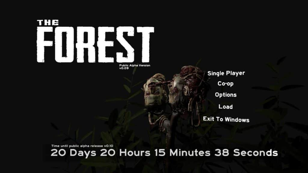 The Forest Version 0.09 Co-Op Modus Hauptmenü