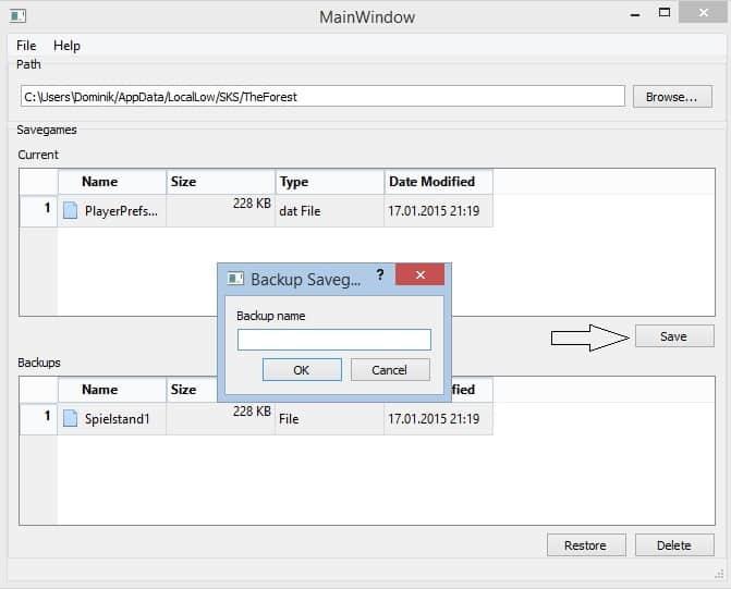 Savegame Manager - Schritt 1: Ein Backup des Spielstandes anlegen.