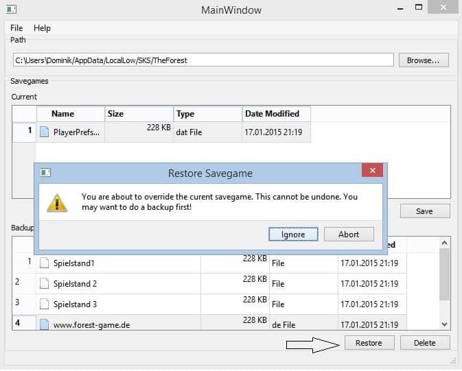 Savegame Manager - Schritt 2: Das Backup wiederherstellen.
