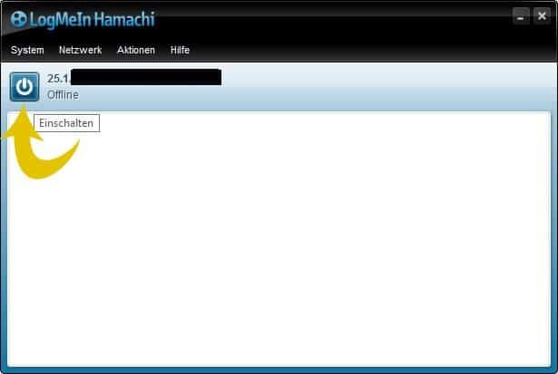 Bild 2: Hamachi über den Powerbutton einschalten