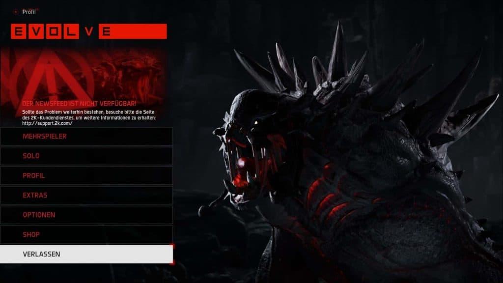 Evolve - Goliath im Titelbildschirm