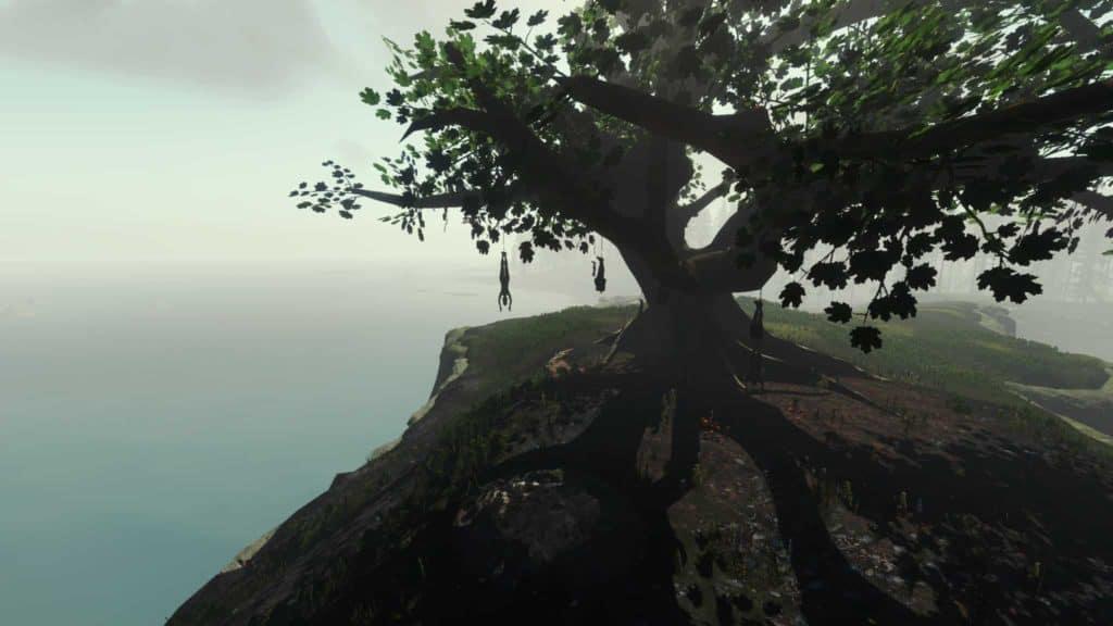 """Hängende Menschen auf den Bäumen. """"The Forest"""""""