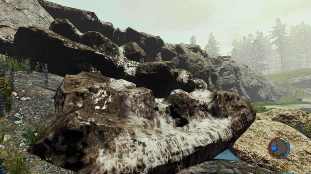 The Forest Update 0.21 Wasserfälle mit weißem Schaum